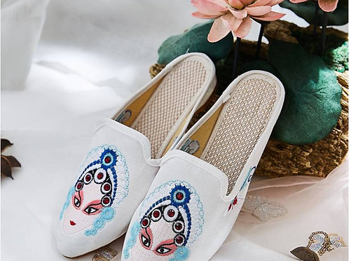 Silk and velvet slippers, asian god motif, non-slip