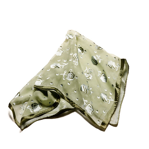 Silk scarf / pocket handkerchief - Transparent olive green with raised flo spots