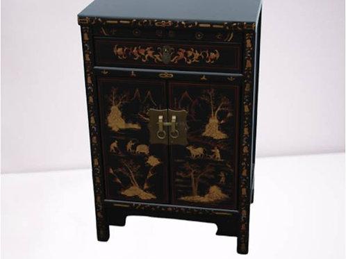 Black handprinted birch cabinet