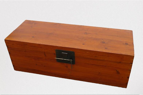 Elm wood trunk with copper lock