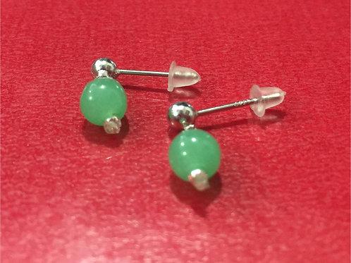Handmade natural jade earrings set in sterling silver