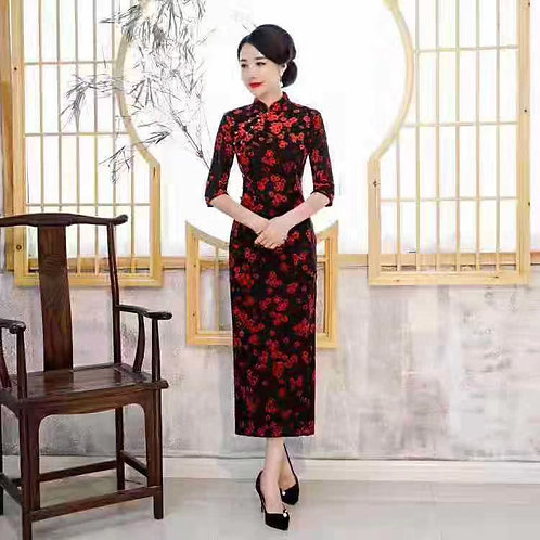 QiPao Dress - Black with red flowers and pearl buttons