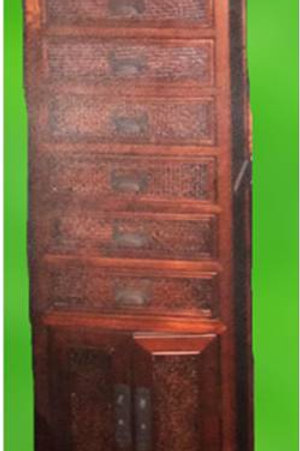 Rattan wooden cabinet with 8 drawers, 2 doors