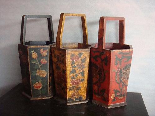 Beautiful handprinted wood vases (various colours)