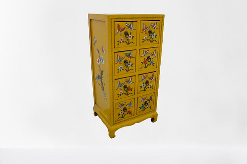 Tibetan/Korean asian style cabinet, hand printed with flowers and butterflies