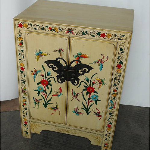 White cabinet with 2  doors, handprinted with butterflies and flowers