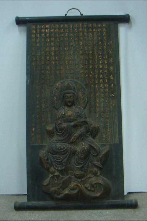 Sophisticated antique old iron Buddha wall hanging (>100 years old)