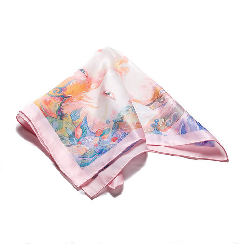 Silk scarf / pocket handkerchief - Pale pink with girls faces
