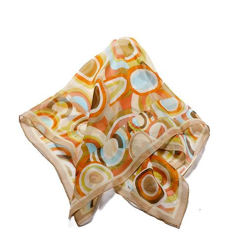 Silk scarf / pocket handkerchief - Caramel/Cream with vintage circles