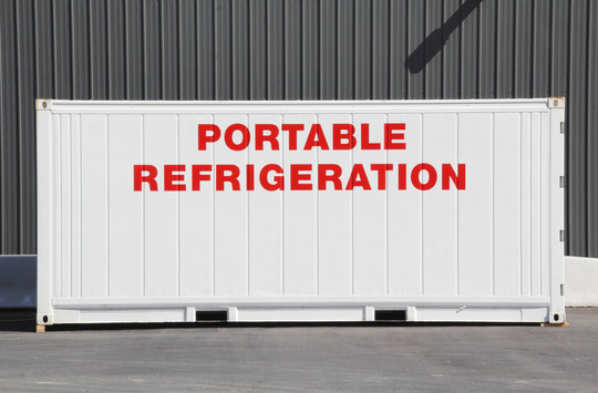 An industrial sized metal container that