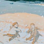 雪道ではしゃぐ