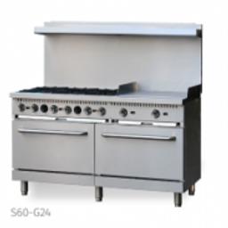 Ecomax by Hobart 6 Burner Gas Range w/ Griddle and 2 standard ovens