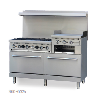 Ecomax by Hobart 6 Burner Gas Range w/ Griddle, 2 standard ovens and Salamander