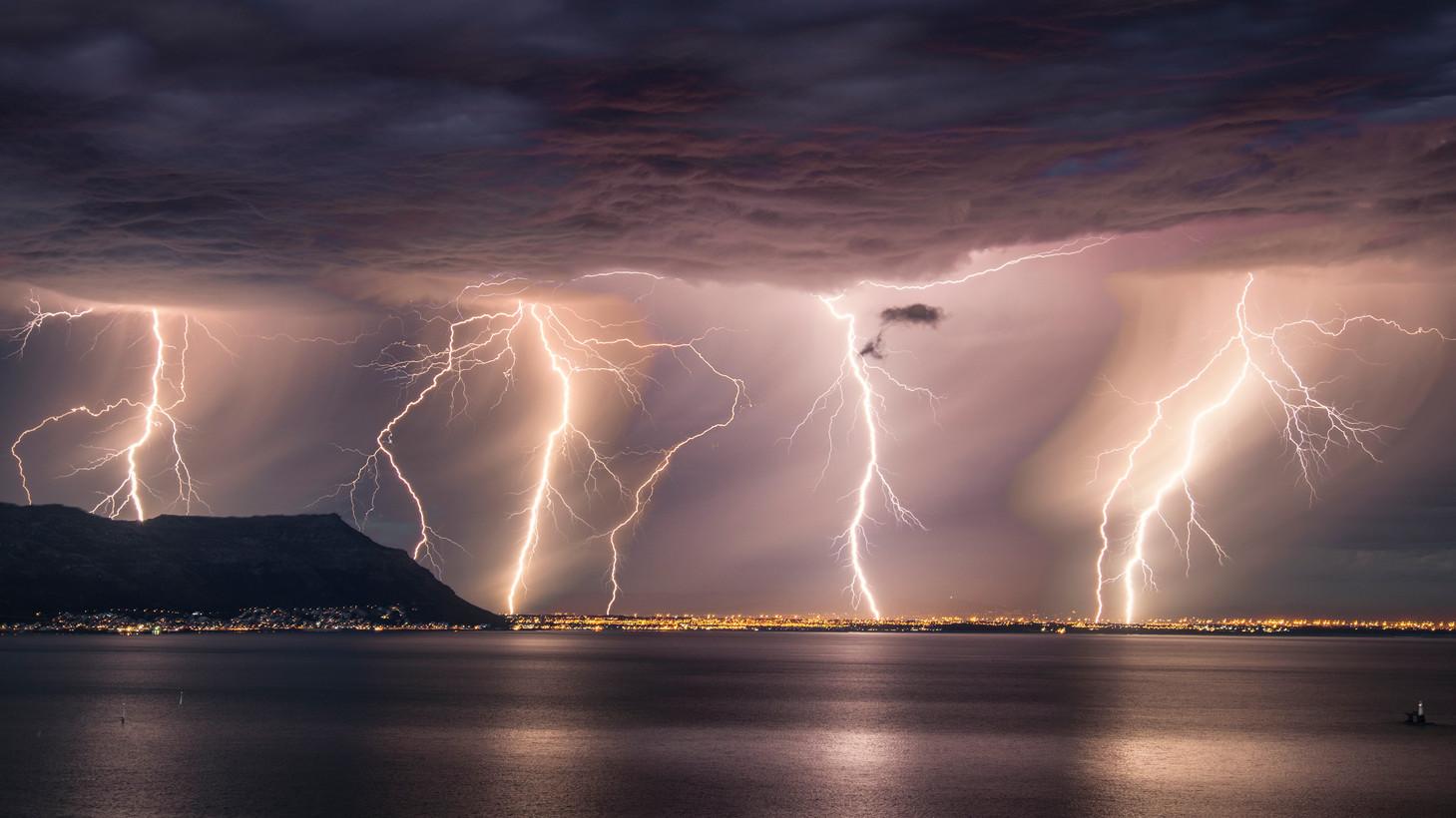 False Bay Lightning Panoramic