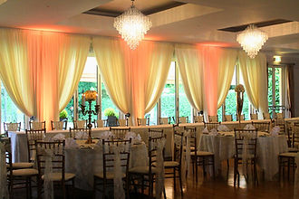Wedding Backdrop Draping, Chiavari Chairs, Candleabra Centrepieces