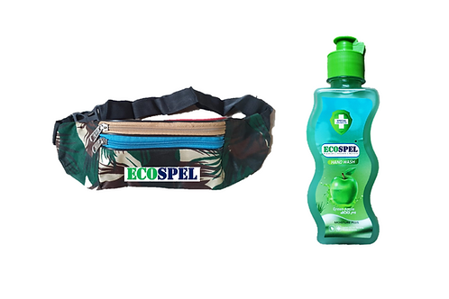Ecospel Canvas Waist Pouch Combo | Multi Purpose Bag & Green Apple Handwash |