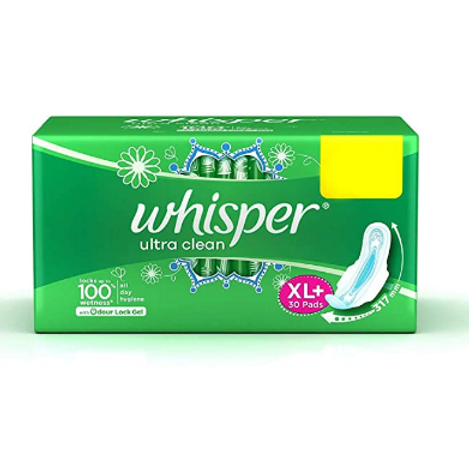 Whisper Ultra Clean Sanitary Pads - 30 Pieces (XL Plus)