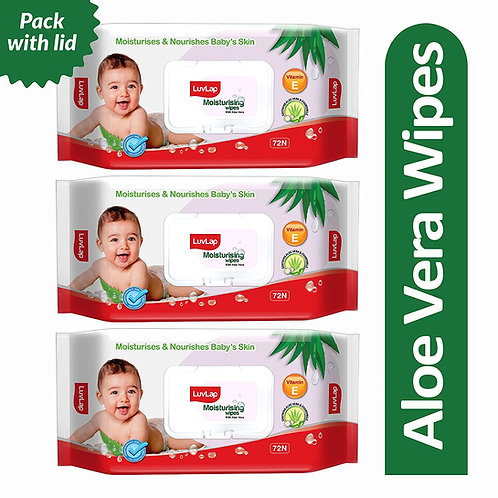 LuvLap Paraben Free Baby Wipes with Aloe Vera, with Fliptop Lid (Pack of 3)