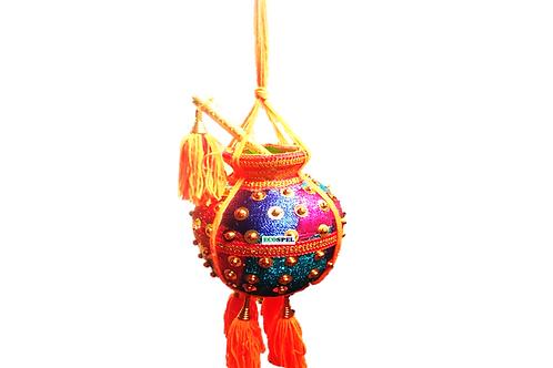 Ecospel Krishna Butter Pot | Wall Hanging Multi Colored Good Finished Fancy Uri