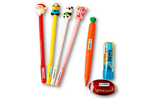 Ecospel Writing Combo | 4 Pen,1 Pencil, 1 Eraser, 1 sharpener Combo |