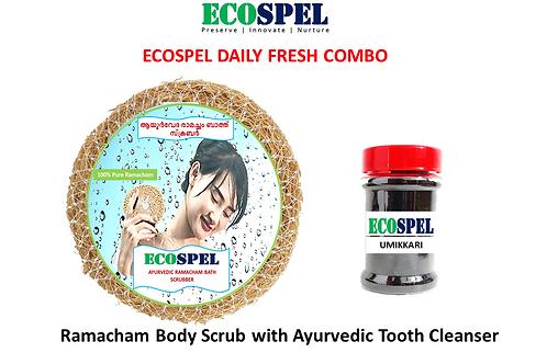 Ecospel Daily Fresh Combo  Ramacham BAth Scrubber with Umikkari Combo  