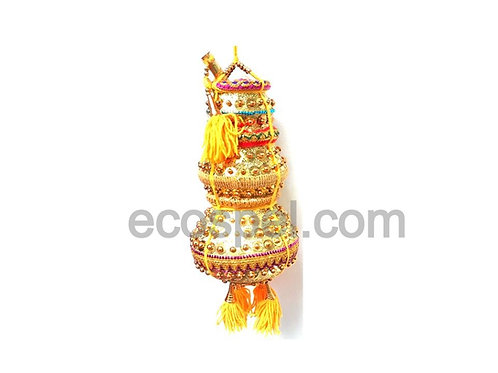 3 Step Yellow Colored Krishna Butter Pot   Good Finished Fancy Uri   Large Size