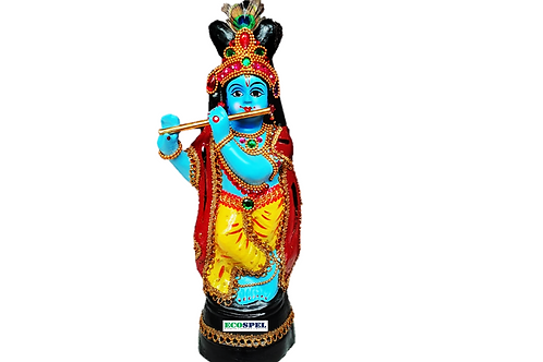 Ecospel Sree Krishna Idol Made in Fiber with Flute and Complete Ornaments