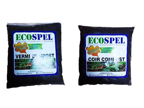 Ecospel Plants Moisture Food Combo | Coir Compost and Vermi Compost Combo | 1kg