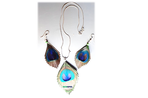 Ecospel Peacock Feather Chain Earring Combo | Elegant Looking Jewelry Set |