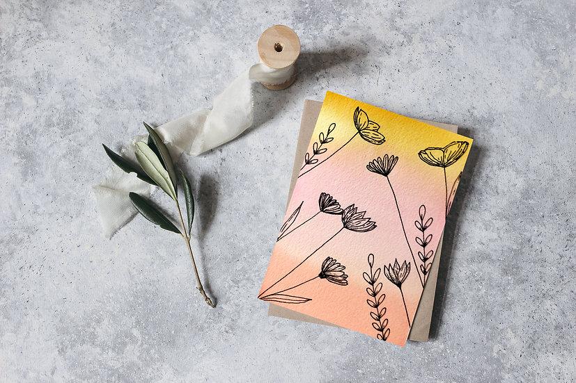 "Dreamsicle Flowers 4.25""x 5.5""Greeting Card"