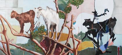baumziegen - 2018 - öl auf leinwand - 120 x 360 cm
