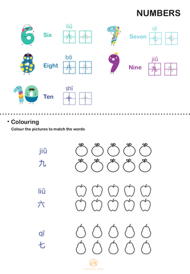 NUMBERS: Colour the number of fruits