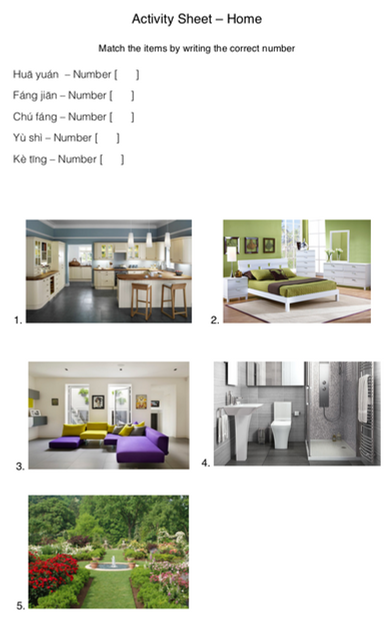 HOME: Match the rooms correctly