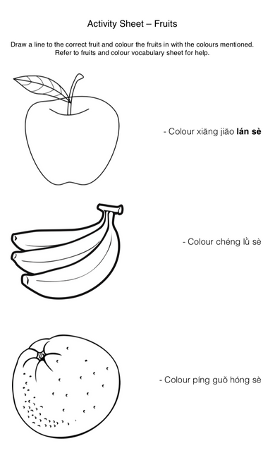 FRUITS: Connect the fruits and colour them in accordingly