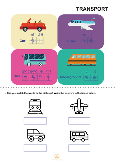 TRANSPORT: Match the words to the pictures