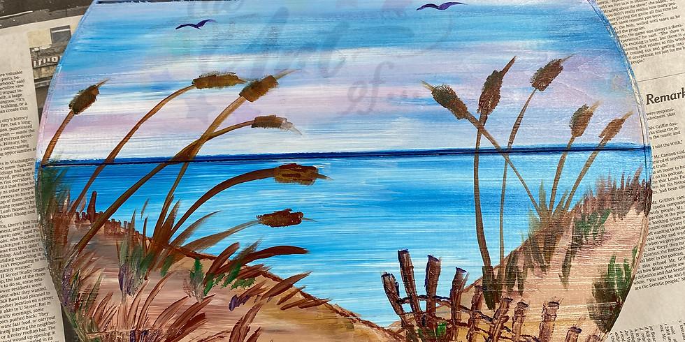 Beach Scene Lazy Susan Paint Day!