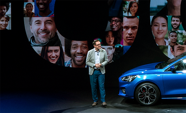 Amko Leenarts on stage during the European Ford Focus launch