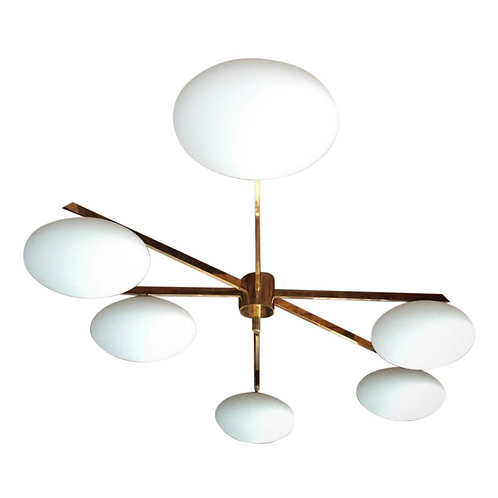 6 Light Italian Brass and Opaline Semi-Flushmount Light
