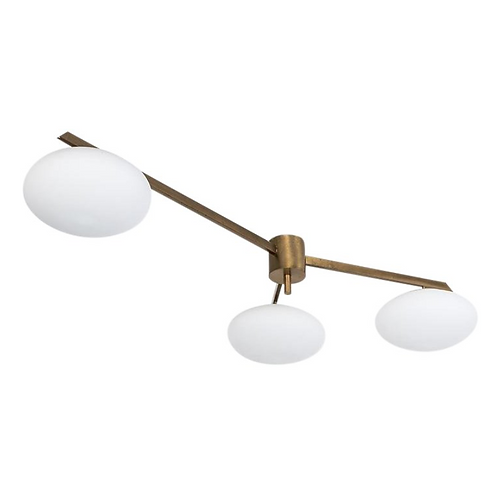 3 Light Italian Brass and Opaline Semi-Flushmount Light