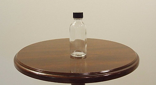 2 Ounce Boston Round Glass with Black Cap