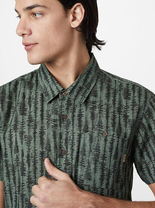 Tree Stripe Button Up - Green