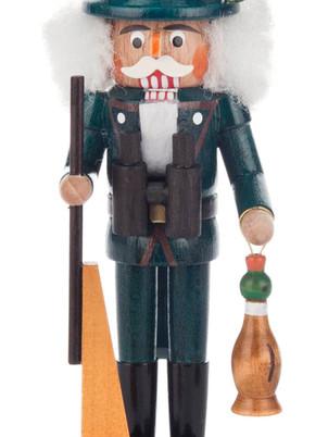 Nussknacker Jäger grün mit Gewehr und Ente, 14cm