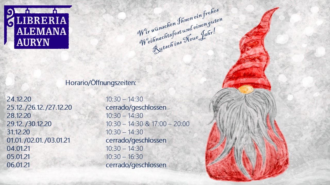 Öffungszeiten über Weihnachten