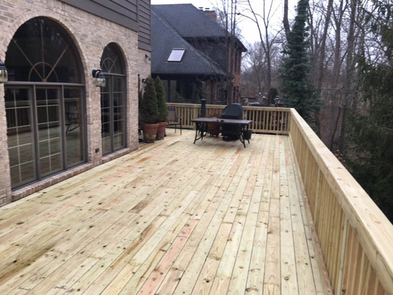 wood deck and rail