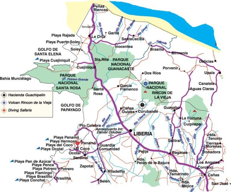 Playas del Coco Area Map