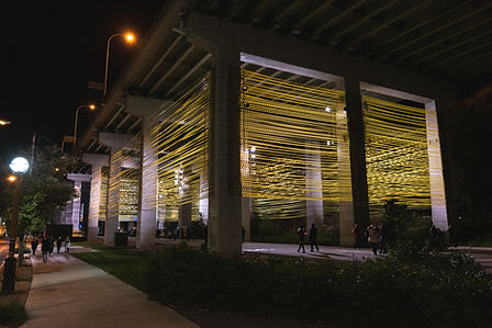 A series of columns under the Gardiner Ex