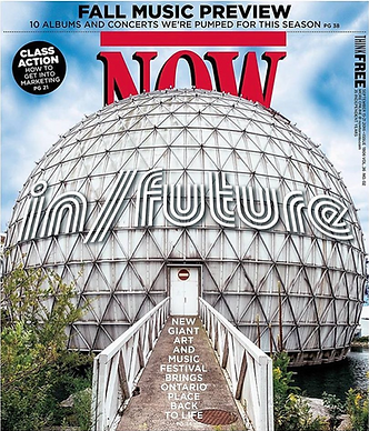 The cover of NOW Magazine featuring in/future printed in September 2016