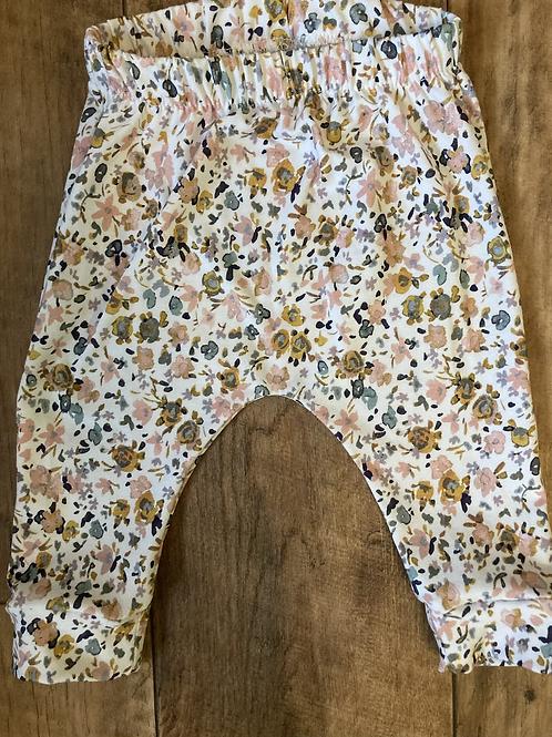 Ochre & Pink Floral Print Leggings