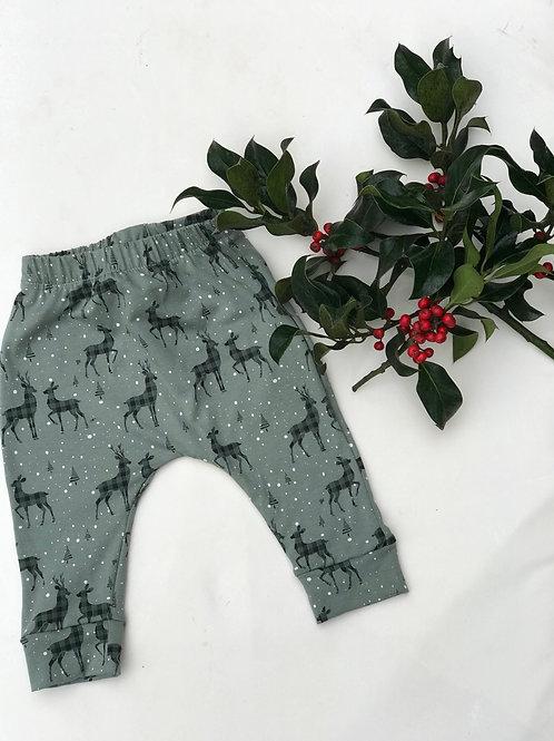 Green Christmas Deer Leggings