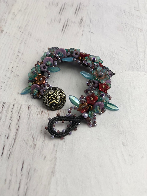 Small Teal and Purple Glass Bead Garden Bracelet